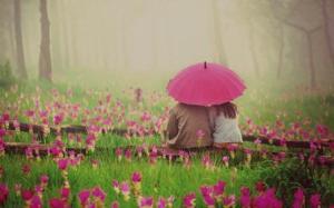 Romantic Couple Under Umbrella Wide HD Wallpaper