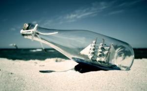 Ship Bottle At Sea Wide HD Wallpaper