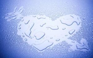 Water Drop Heart On Glass Wide HD Wallpaper